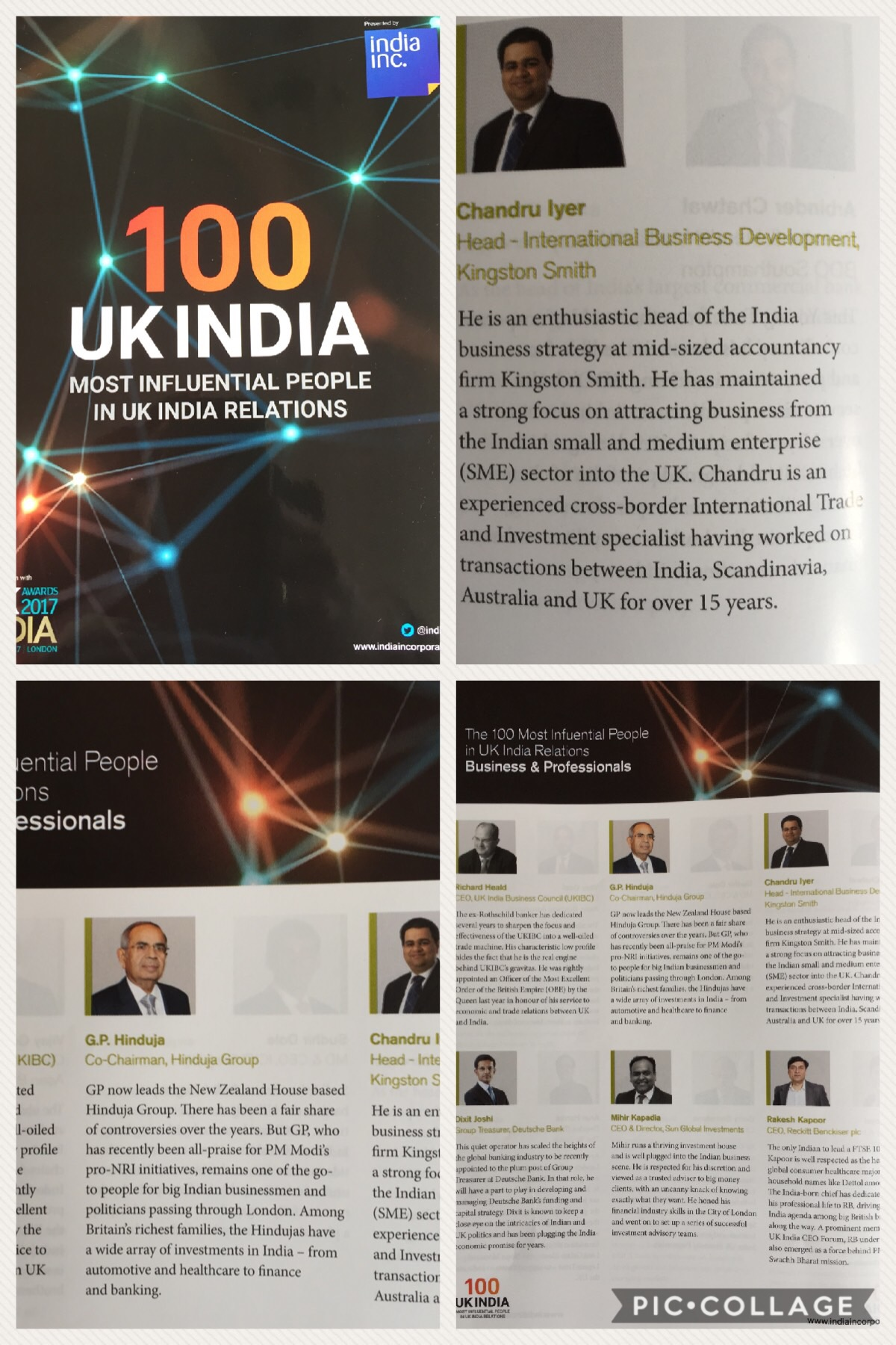 Chandru Iyer listed in the 100 Most Influential People in UK