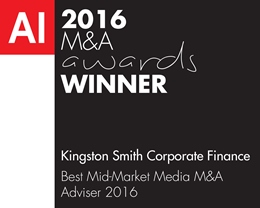 Kingston Smith Corporate Finance-M&A 2016 (MA16050) winners logo
