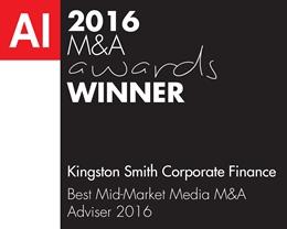 Kingston Smith Corporate Finance-M&A 2016 (MA16050) winners logo