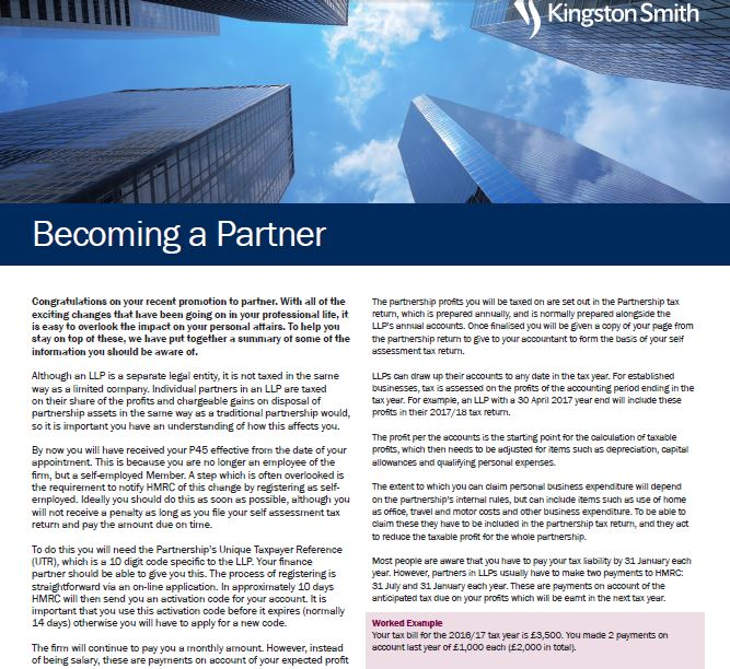 Becoming a Partner - Kingston Smith