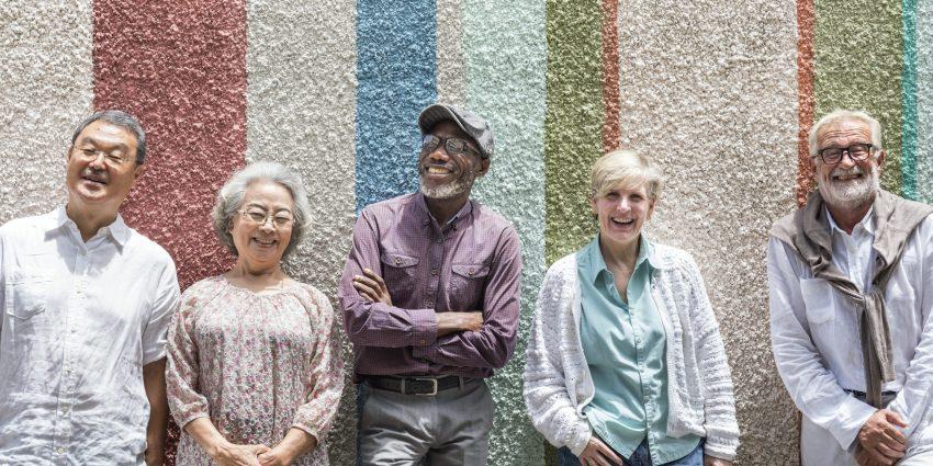 Group of senior retired people